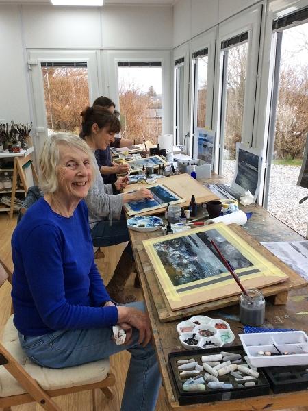Julia Christie painting on Skye students 03