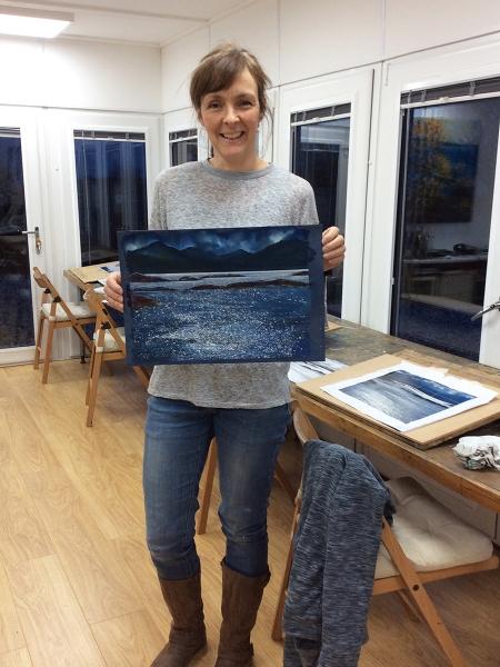 Julia Christie painting on Skye students 10