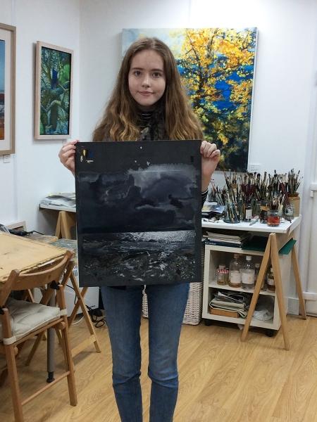 Julia Christie painting on Skye students 11